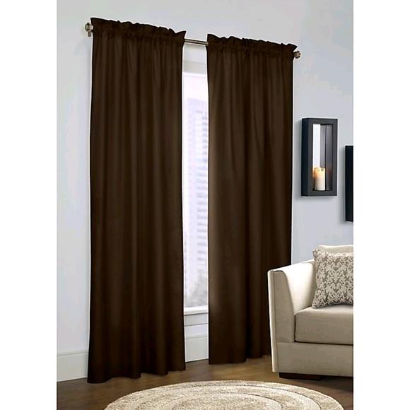 Chocolate Brown microfiber blackout curtains.